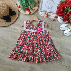 Váy bé gái cổ ren hoa nhí đuôi cá 2 tầng size 2-6